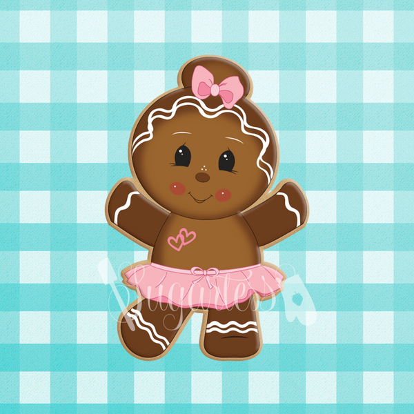 Sugartess holiday custom cookie cutter in shape of a dancing ballerina gingerbread girl with hair bun and tutu skirt.