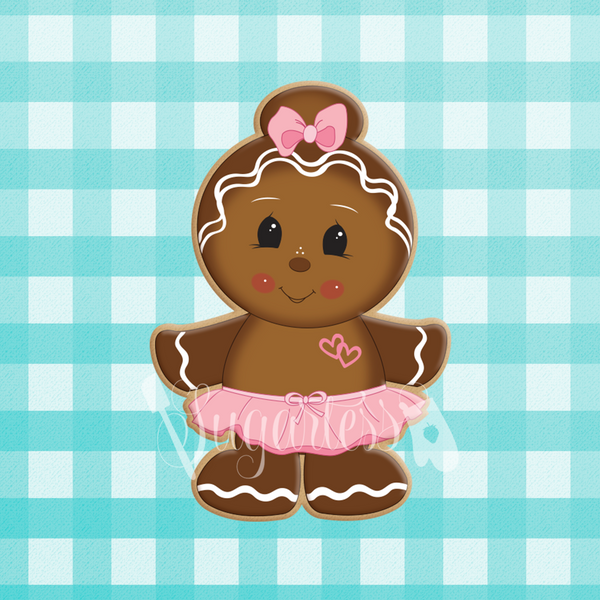 Sugartess holiday custom cookie cutter in shape of a standing ballerina gingerbread girl with hair bun and tutu skirt.