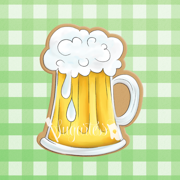 Sugartess custom cookie cutter in shape of beer mug.