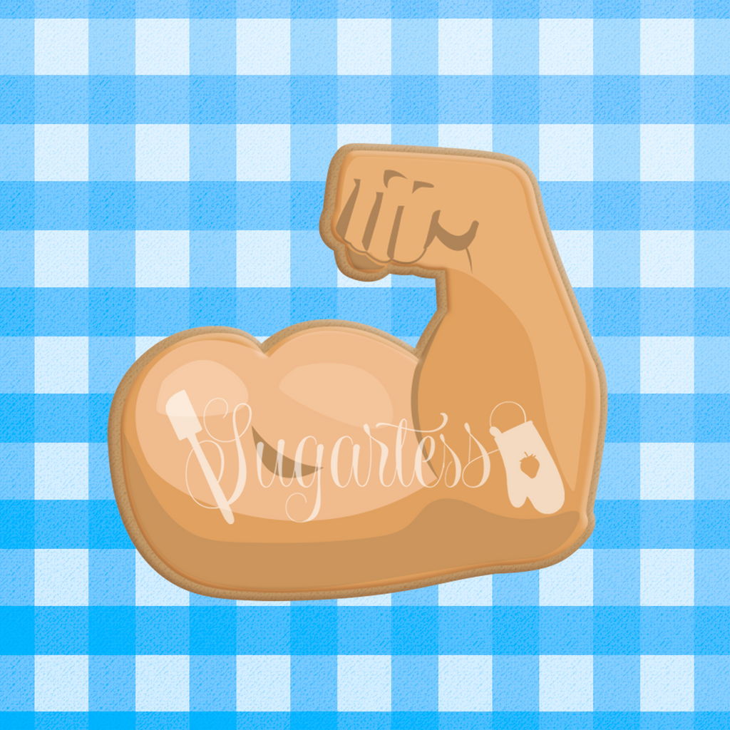 Sugartess custom cookie cutter in shape of fitness weight lifter's biceps arm.