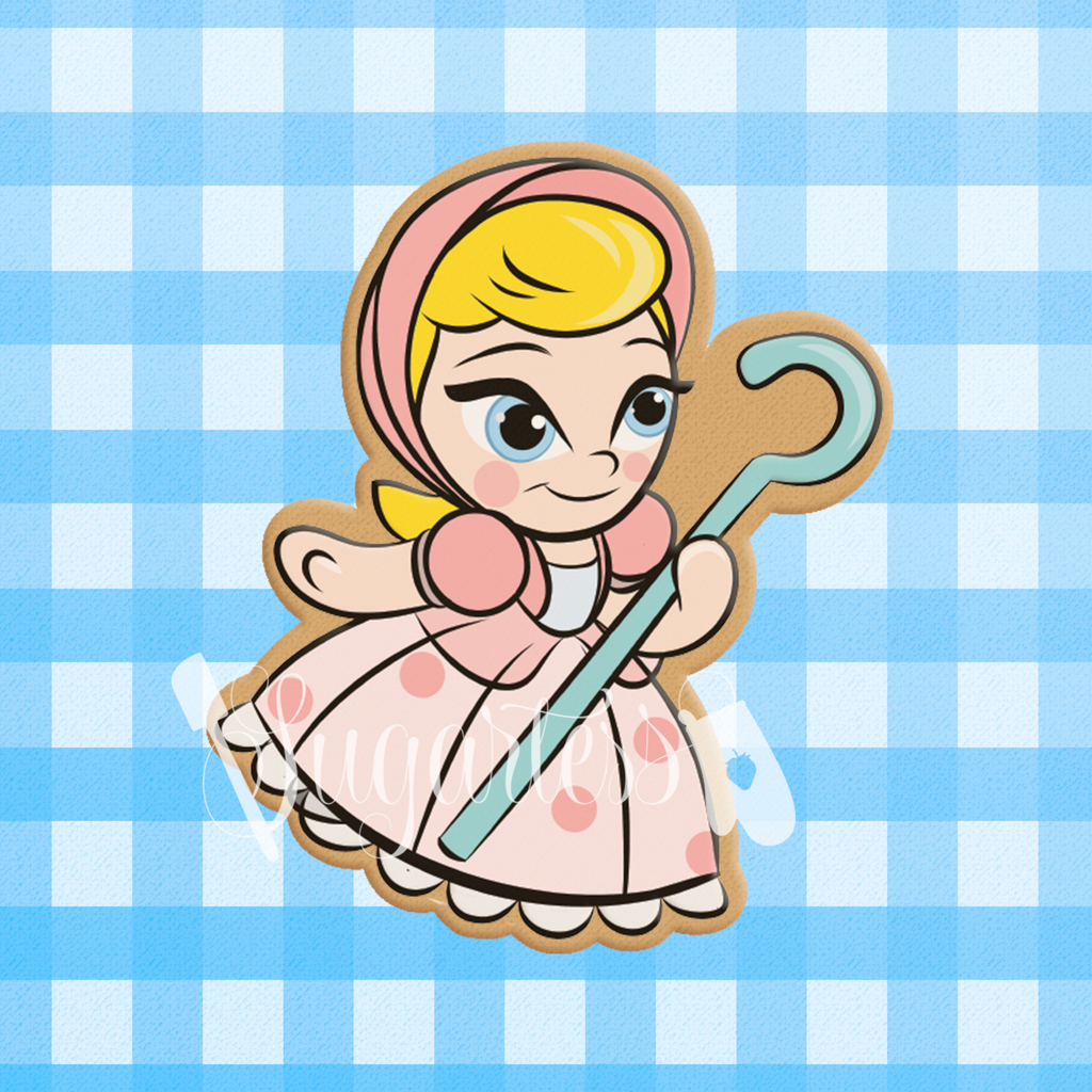 Sugartess custom cookie cutter in shape of toy traditional Bo Peep character