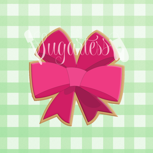 Sugartess custom cookie cutter in shape of double bow girl accessory #1.
