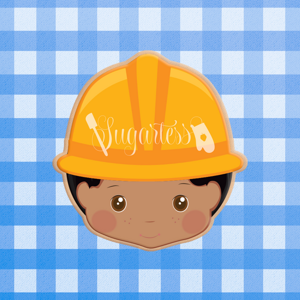 Sugartess custom cookie cutter in shape of Constructor or Contractor Head with Safety Helmet.