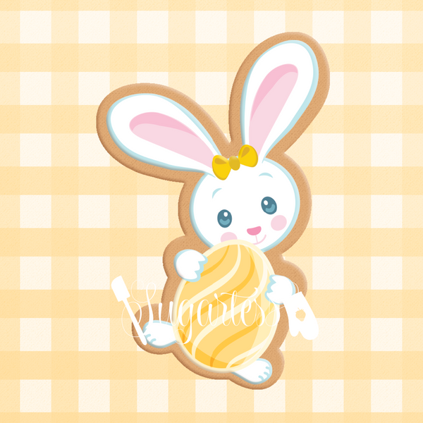 Sugartess cookie cutter in shape of     Cartoon Easter Bunny 2. 3D printed from biodegradable  PLA plastic in diferent sizes ranging from 2 to 6 inches.