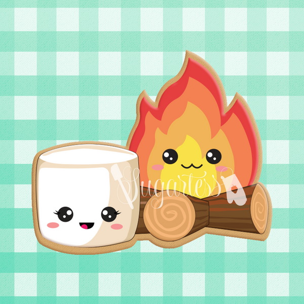 Sugartess custom cookie cutter in shape of kawaii camp fire and marshmallow perfect pair.