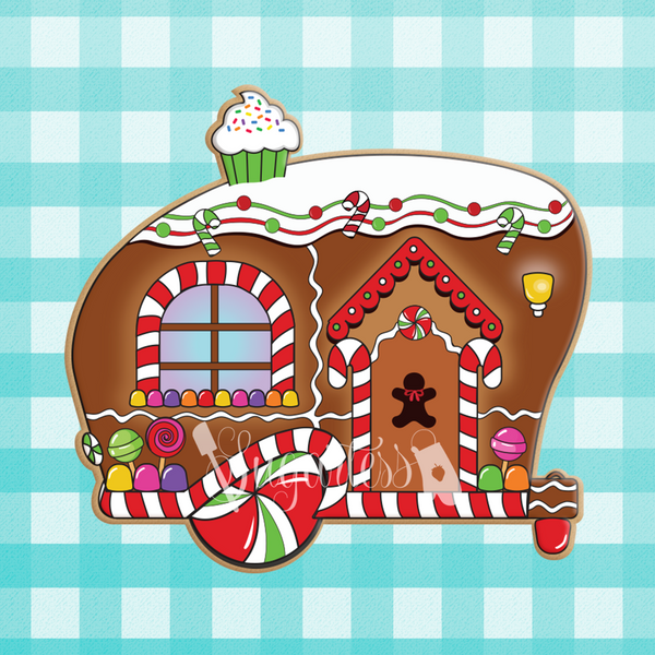 Sugartess custom holiday cookie cutter in shape of a gingerbread camper trailer house decorated with candy and a cupcake chimney on top.