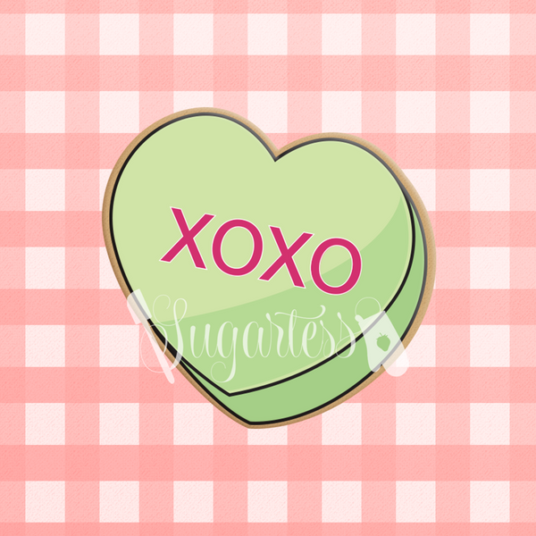 Sugartess custom Valentine's Day cookie cutter in shape of conversation candy hearts with XOXO word.