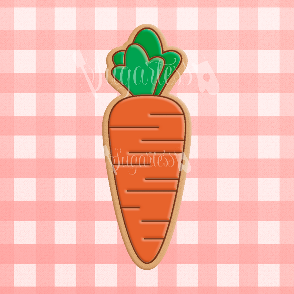 Sugartess cookie cutter in shape of   Carrot.3D printed from biodegradable  PLA plastic in diferent sizes ranging from 2 to 6 inches.