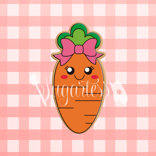 Sugartess custom cookie cutter in shape of kawaii cute girl carrot.