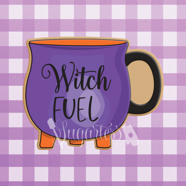 Sugartess custom cookie cutter in shape of witch's cauldron coffee mug or tea cup.