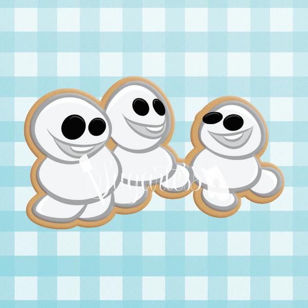 Sugartess custom cookie cutter in shape of chibi winter princess trio of tiny snowman character.