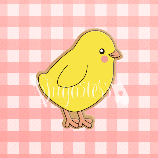 Sugartess custom cookie cutter in shape of a baby chick.