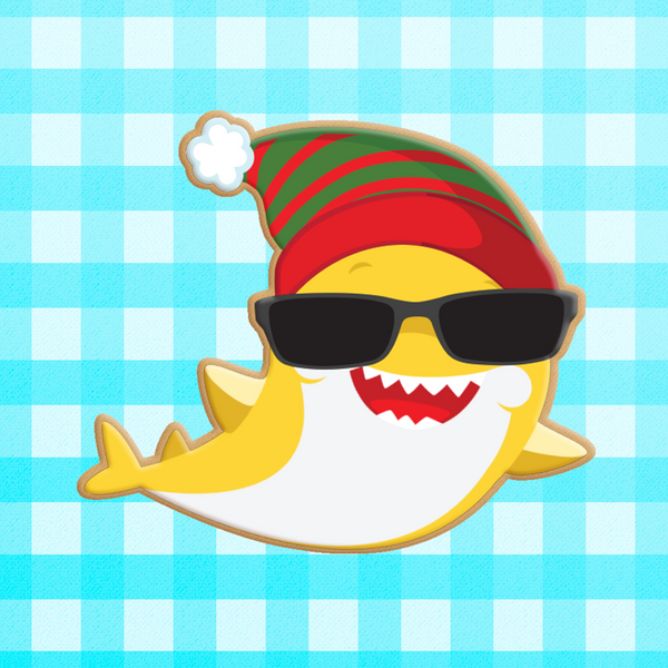 Sugartess custom cookie cutter in shape of Christmas in July Summer Shark with Winter Hat and sunglasses.