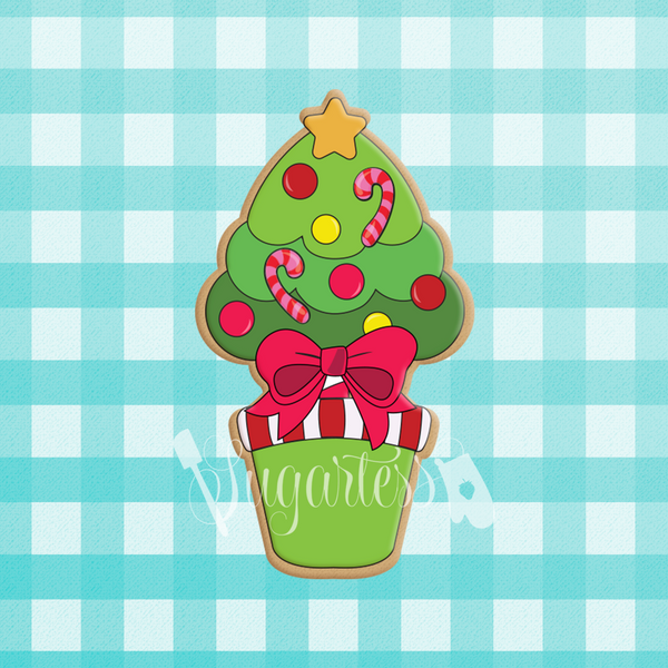 Sugartess holiday custom cookie cutter in shape of a Christmas tree topiary.