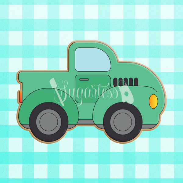 Sugartess custom cookie cutter in shape of a chubby classic pickup truck.