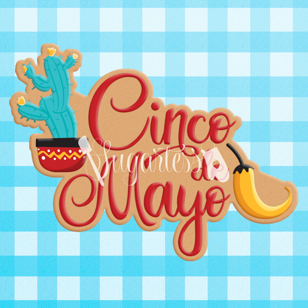 Sugartess custom cookie cutter in shape of cinco de mayo word plaque with cactus and chili pepper.