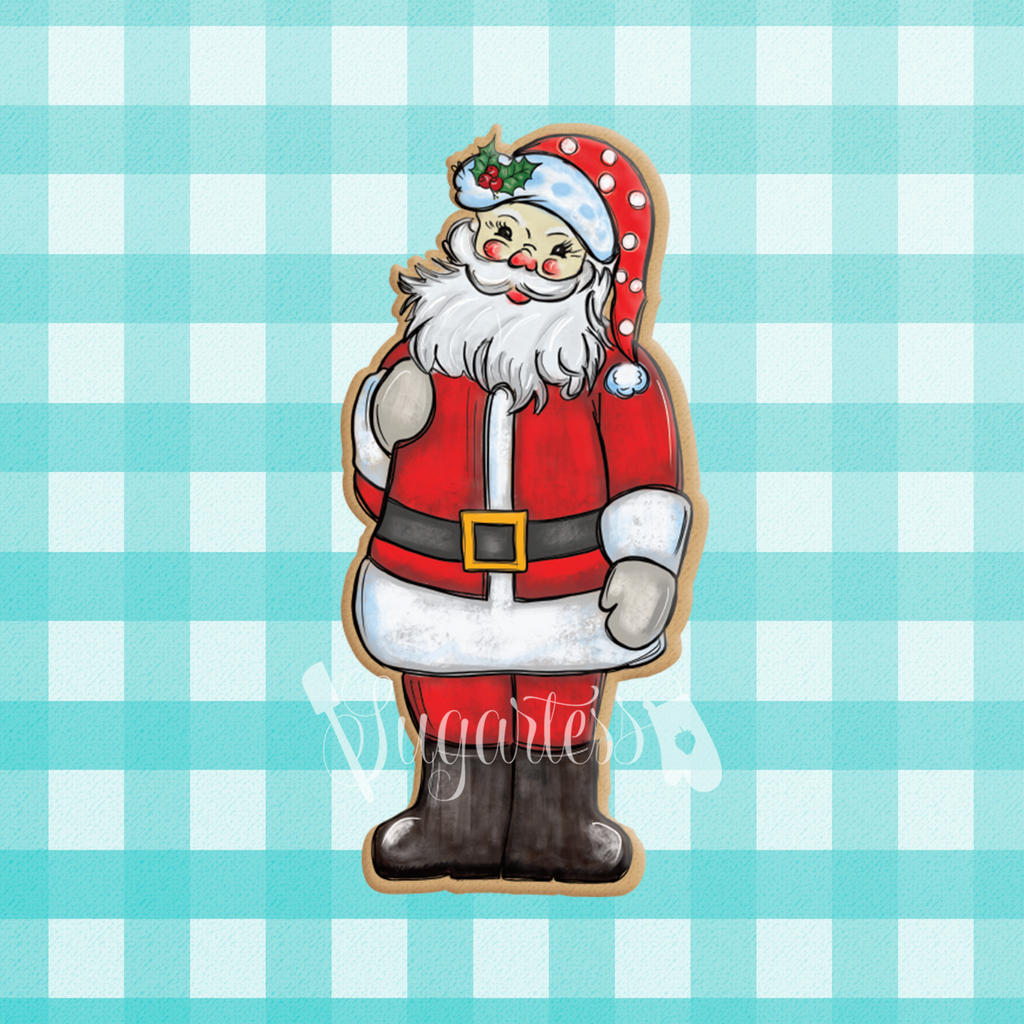 Sugartess custom Christmas cutter in shape of a standing Santa Claus.