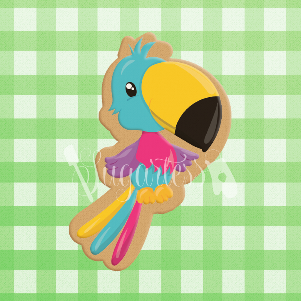 Sugartess custom cookie cutter in shape of cute and colorful cartoon toucan bird.