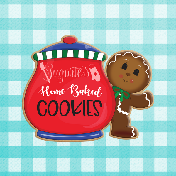 Sugartess custom holiday cookie cutter in shape of a cookie jar and a standing gingerbread man next to it.
