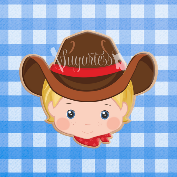 Sugartess custom cookie cutter in shape of Cowboy or Rancher Head with Hat.