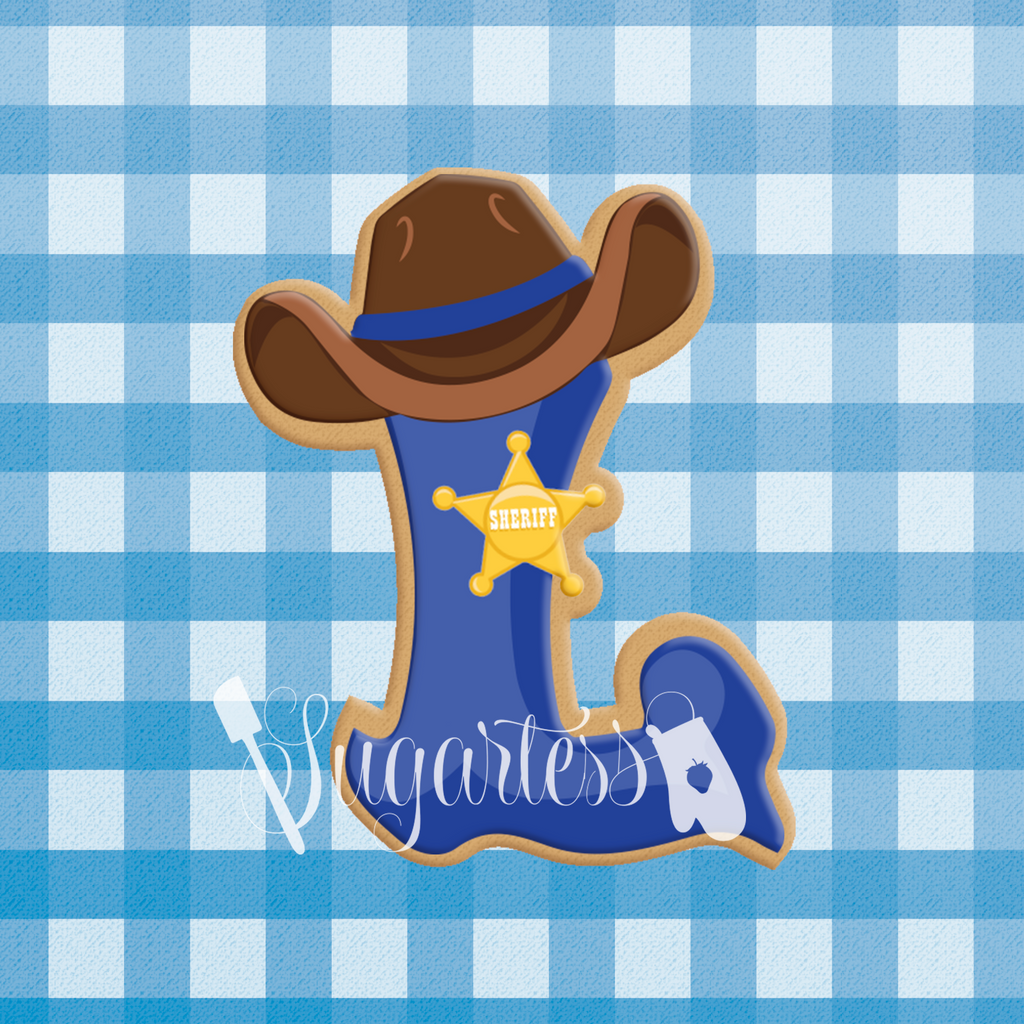 Sugartess custom cookie cutter western cowboy alphabet letters, symbols and numbers with hat and star plaque.