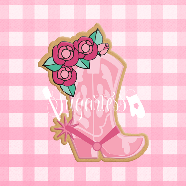 Sugartess custom cookie cutter in shape of cowgirl floral boot