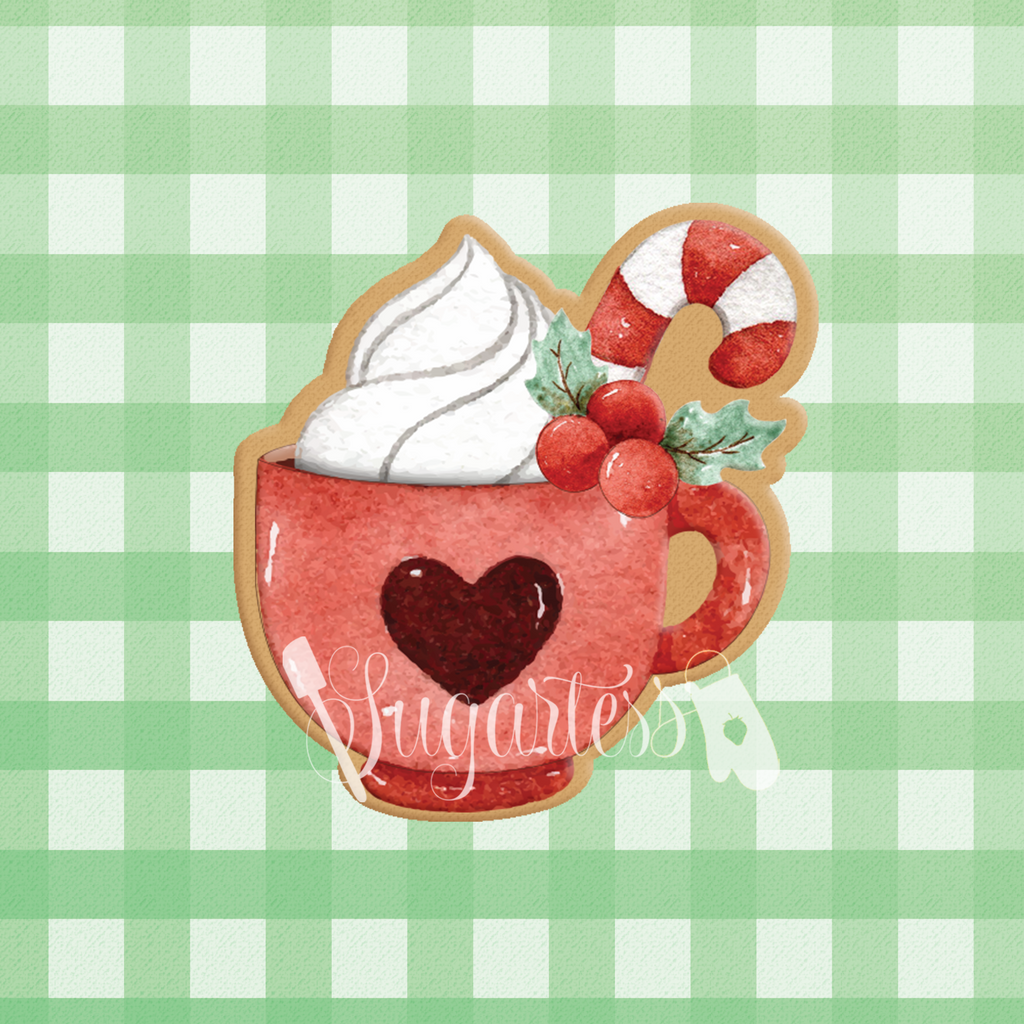 Sugartess custom cookie cutter in shape of holiday cup with whipped cream and candy cane.