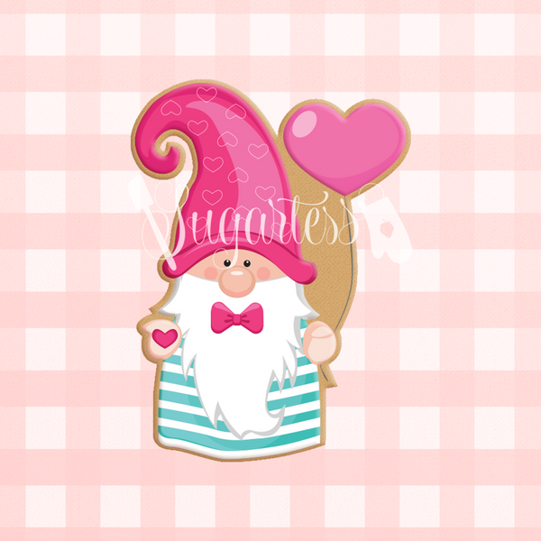 Sugartess custom cookie cutter in shape of boy gnome with heart balloon.