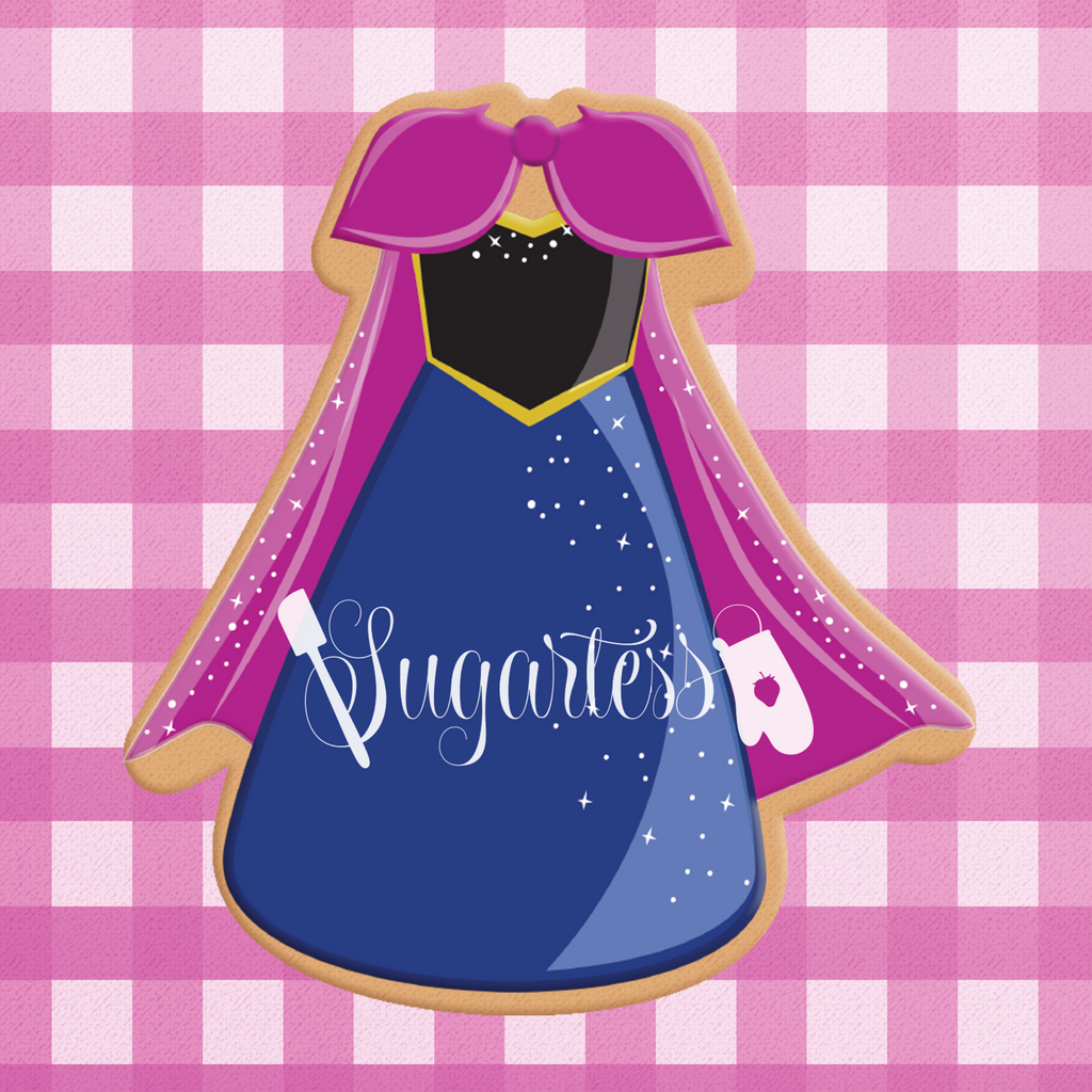 Sugartess cookie cutter in shape of Dress Young Winter Princess. 3D printed from biodegradable  PLA plastic in diferent sizes ranging from 2 to 6 inches.