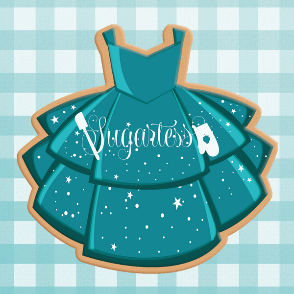 Sugartess cookie cutter in shape of Dress Mermaid Princess. 3D printed from biodegradable  PLA plastic in diferent sizes ranging from 2 to 6 inches.
