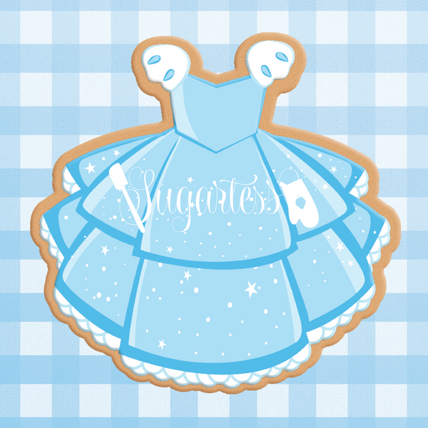 Sugartess cookie cutter in shape of Dress Princess Cinderella. 3D printed from biodegradable  PLA plastic in diferent sizes ranging from 2 to 6 inches.
