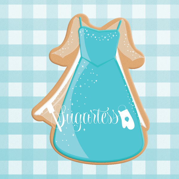 Sugartess cookie cutter in shape of Dress Winter Princess. 3D printed from biodegradable  PLA plastic in diferent sizes ranging from 2 to 6 inches.