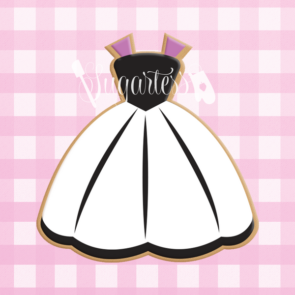 Sugartess custom cookie cutter in shape of strap dress with circular skirt.