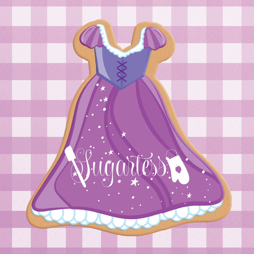 Sugartess cookie cutter in shape of Dress Princess Rapunzel. 3D printed from biodegradable  PLA plastic in diferent sizes ranging from 2 to 6 inches.