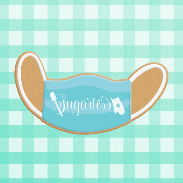 Sugartess custom cookie cutters in shape of surgical 3-ply face mask.