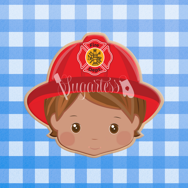 Sugartess custom cookie cutter in shape of firefighter head with hat.