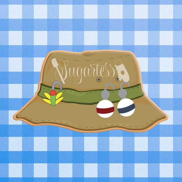 Sugartess custom cookie cutter in shape of fisherman bucket or boonie fishing hat.