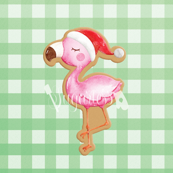 Sugartess custom cookie cutter in shape of holiday flamingo with Santa hat.