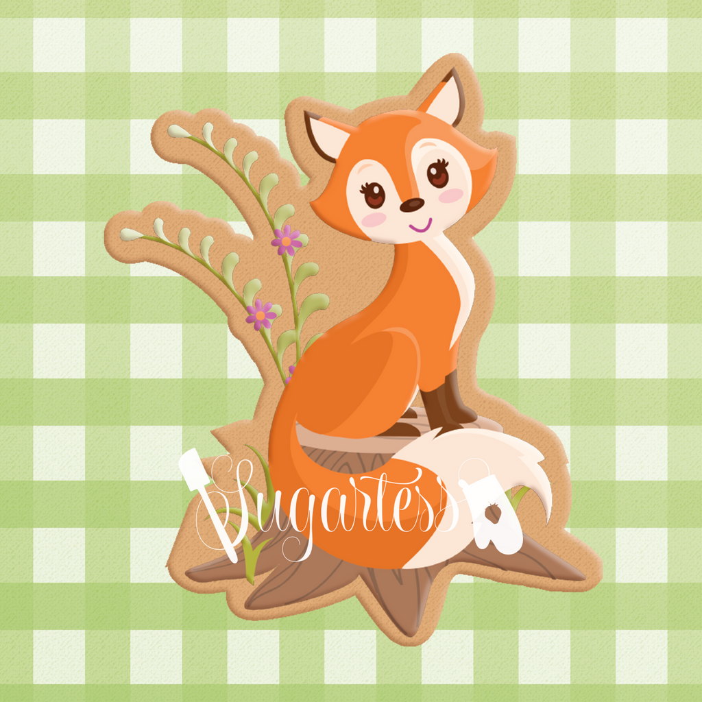 Woodland Fox on Tree Stump #2