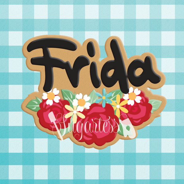 Sugartess custom cookie cutter in shape of Frida Khalo name plaque with rose garland.