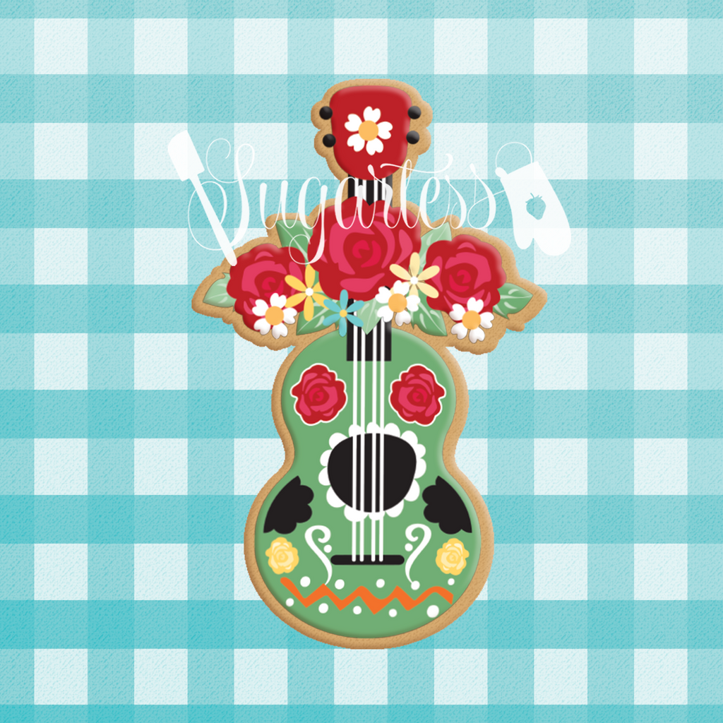 Sugartess custom cookie cutter in shape of Frida Khalo's guitar with rose garland,