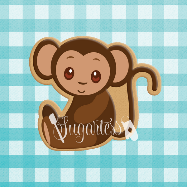 Sugartess custom cookie cutter in shape of Frida Khalo's pet monkey.