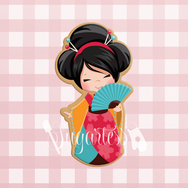 Sugartess cookie cutter in shape of     Japanese Kokeshi Girl with Fan . 3D printed from biodegradable  PLA plastic in different sizes ranging from 2 to 6 inches.