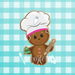 Sugartess custom cookie cutter in shape of baker gingerbread girl holding decorated cookie and rolling pin