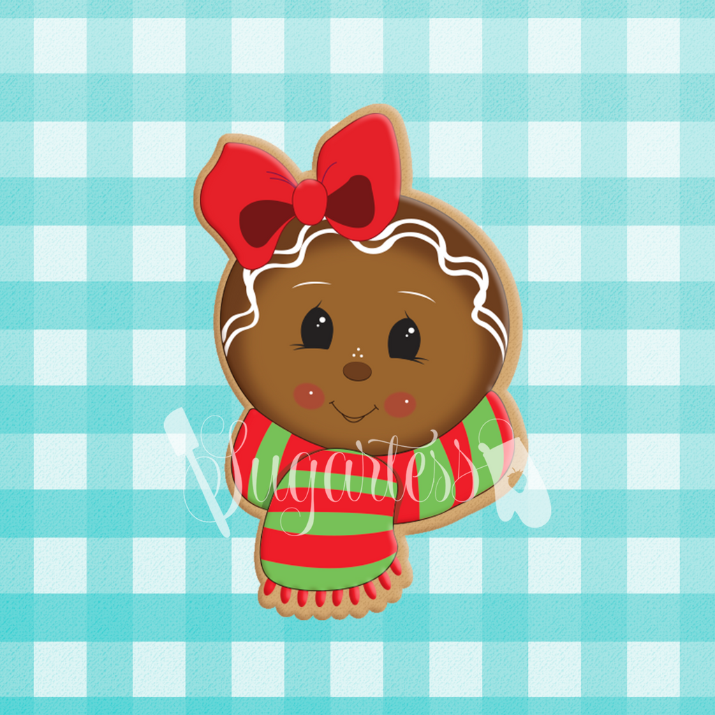 Sugartess custom cookie cutter in shape of gingerbread girl's head with scarf.
