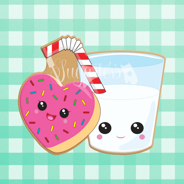Sugartess custom cookie cutter in shape of kawaii glass of milk with straw and heart-shaped donut perfect pair.