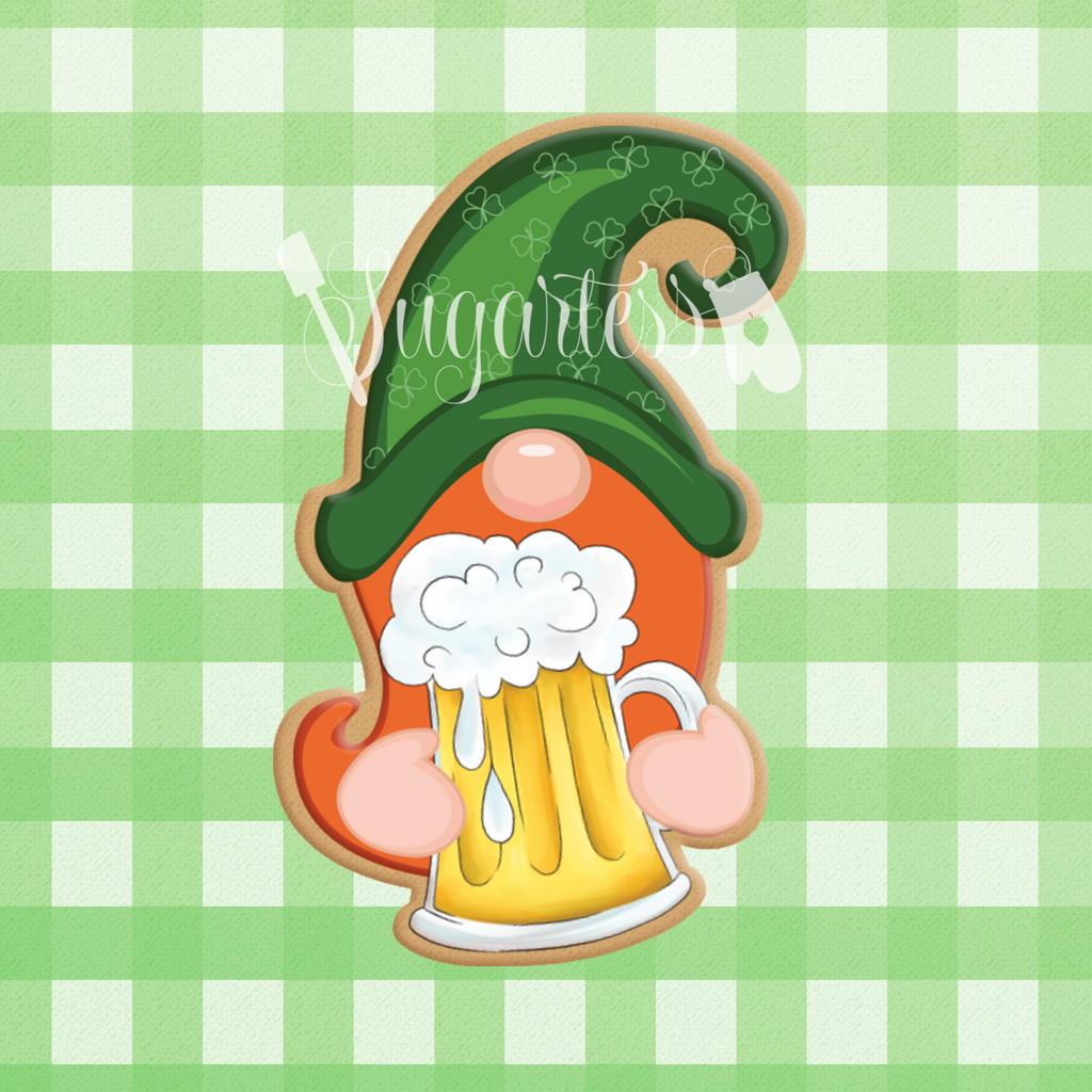 Sugartess custom cookie cutter in shape of Gnome Leprechaun Holding Beer Mug