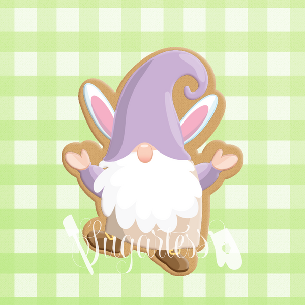 Sugartess custom cookie cutter in shape of Easter gnome with bunny ears hat.