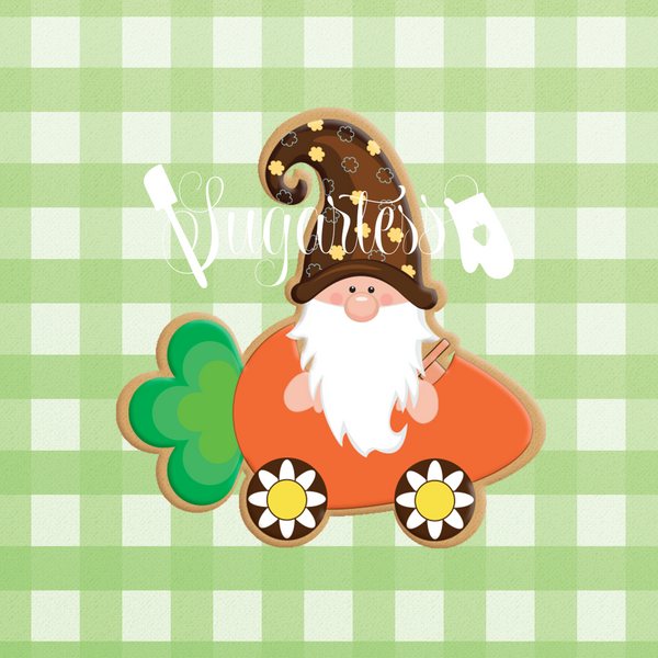 Sugartess custom cookie cutter in shape of a gnome riding a carrot-shaped vehicle.