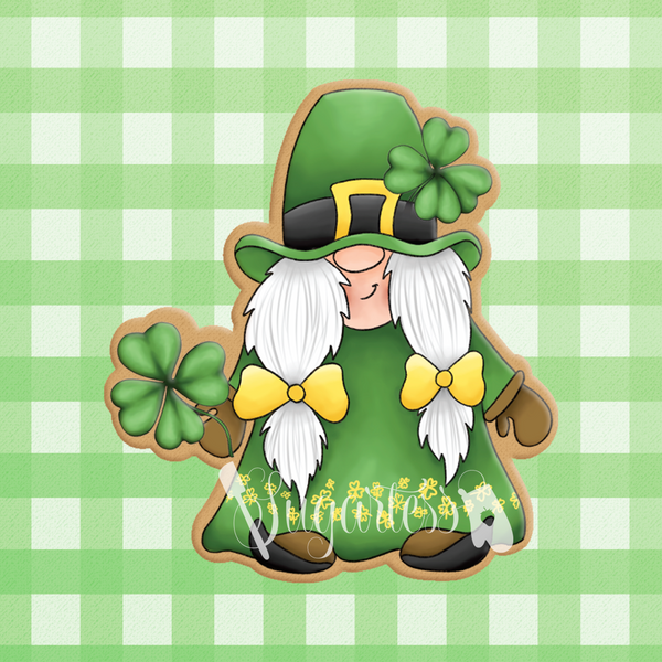 Sugartess custom cookie cutter in shape of girl gnome leprechaun holding large shamrock.